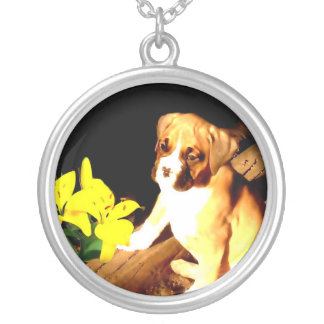 Boxer puppy silver necklace