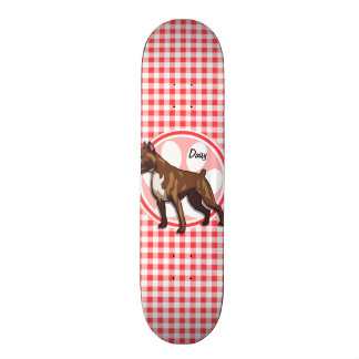 Boxer; Red and White Gingham Skate Boards