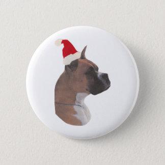 Boxer Santa Hat 6 Cm Round Badge