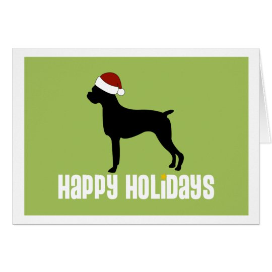 Boxer Santa Hat Card
