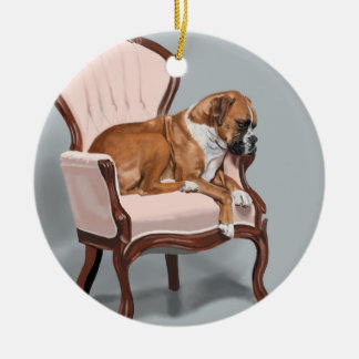 Boxer Sitting Pretty Christmas Ornament