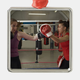 Boxer training with coach in gym christmas ornament