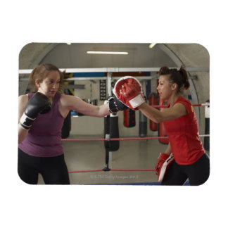 Boxer training with coach in gym rectangle magnets