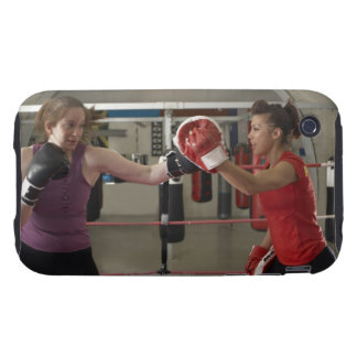 Boxer training with coach in gym tough iPhone 3 case