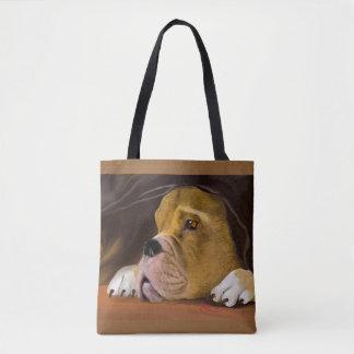 Boxer Under a Blanket Tote Bag