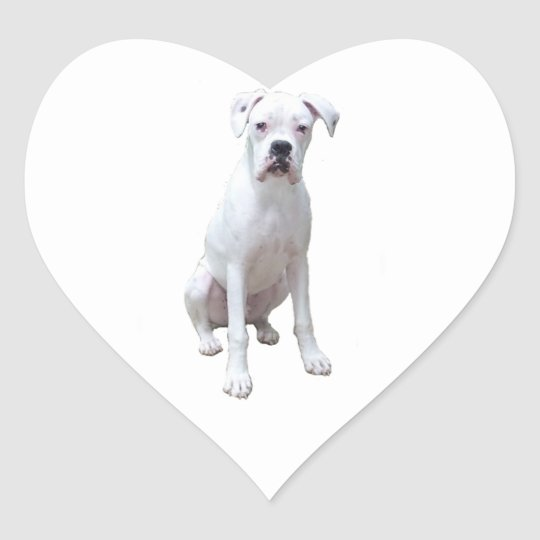 BOXER - White pup.png Heart Sticker