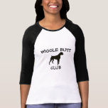 Boxer Wiggle Butt Club Ladies Baseball Tshirt
