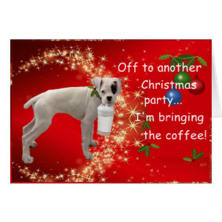 Boxer with Coffee Christmas Greeting Card