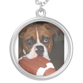 boxer with football necklace