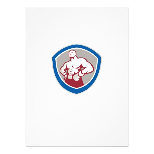 Boxer With Hands on Hips Shield Custom Invites