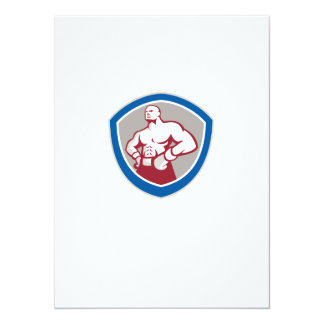 Boxer With Hands on Hips Shield 14 Cm X 19 Cm Invitation Card