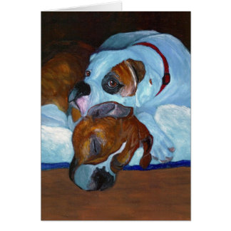 Boxers Fawn and White Patch Card