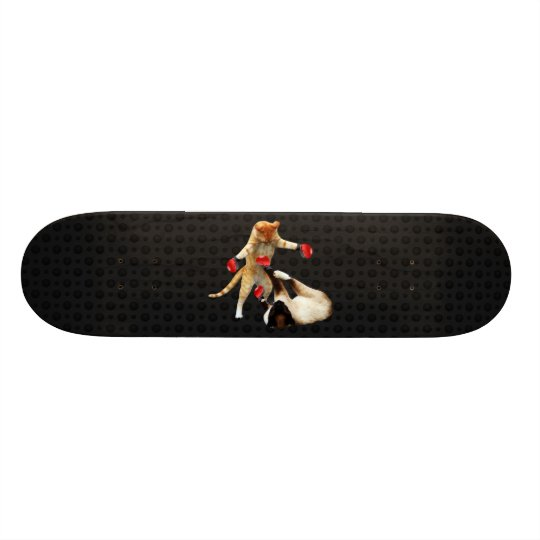 Boxing cats on black 21.3 cm mini skateboard