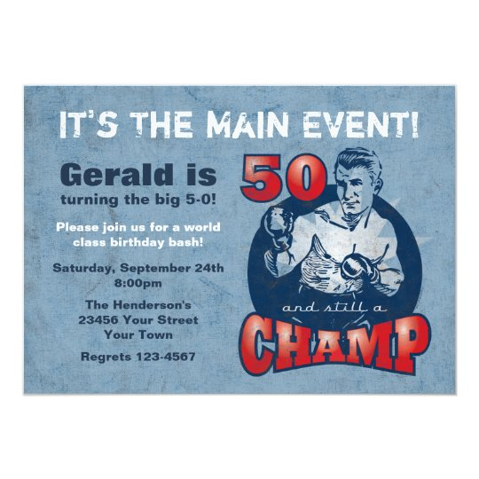 Boxing Champ 50th Birthday Party Invitation