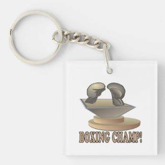 Boxing Champ Single-Sided Square Acrylic Key Ring