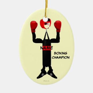 Boxing Champion Cartoon Christmas Ornament