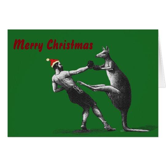 Boxing Christmas Kangaroo Card