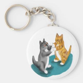 Boxing Duo - two kitten Siblings Basic Round Button Key Ring