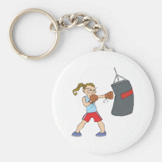 boxing girl punching bag basic round button key ring