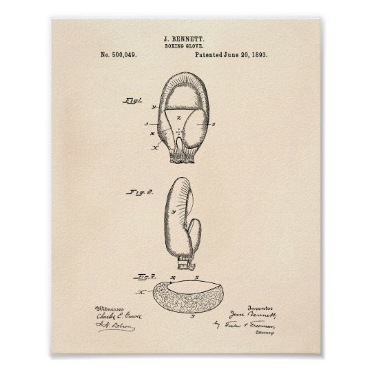 Boxing Glove 1893 Patent Art Old Peper Poster