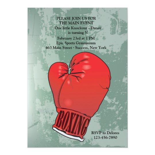 Boxing Glove Birthday Party Invitation