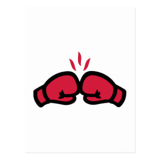 Boxing gloves punch post card