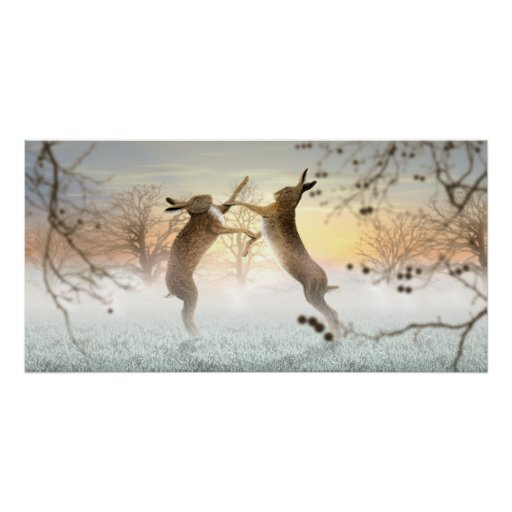 Boxing Hares Poster