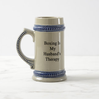 Boxing Is My Husband's Therapy 18 Oz Beer Stein