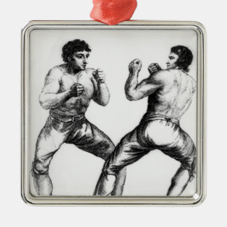 Boxing Match Silver-Colored Square Decoration