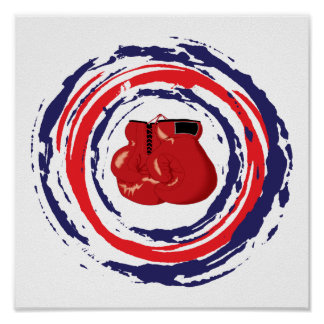 Boxing Red Blue And White Poster
