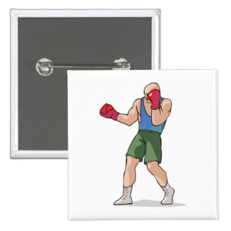 boxing stance boxer graphic 15 cm square badge