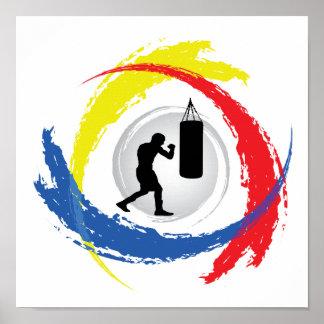 Boxing Tricolor Emblem Print
