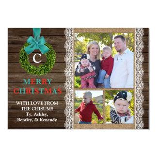 Boxwood Wreath Christmas Card with 3 Family Photos