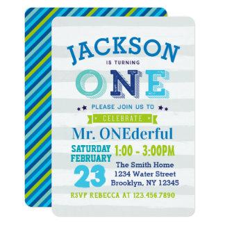 Boy 1st Birthday Invitation Mr ONEderful blue grey