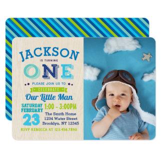Boy 1st Birthday Invitation Photo Our Little Man