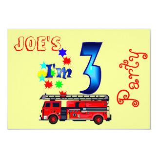 Boy 3rd birthday party firetruck 9 cm x 13 cm invitation card