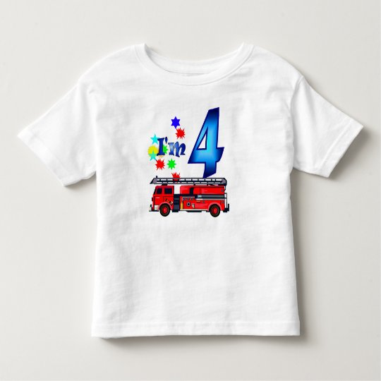 Boy 4th birthday fire engine toddler T-Shirt