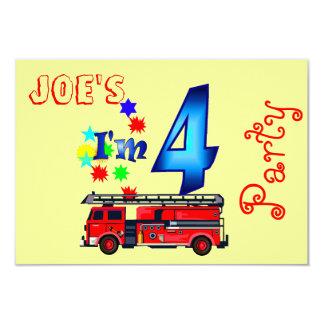 Boy 4th birthday party firetruck 9 cm x 13 cm invitation card