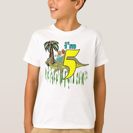 Boy 5th birthday dinosaur T-Shirt