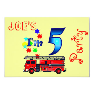 Boy 5th birthday party firetruck 9 cm x 13 cm invitation card