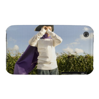 Boy (6-8) in cape and hat with imaginary iPhone 3 Case-Mate case