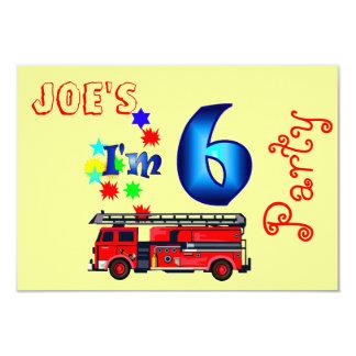 Boy 6th birthday party firetruck card