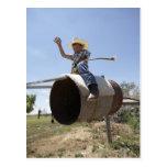 Boy (8-10) riding makeshift rodeo bull postcards