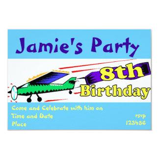 Boy 8th birthday party 9 cm x 13 cm invitation card