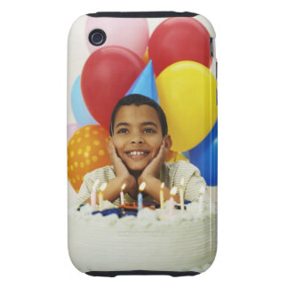 Boy (9-10) with birthday cake tough iPhone 3 cases