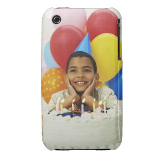 Boy (9-10) with birthday cake Case-Mate iPhone 3 case