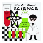 Boy All About Science Birthday Party Invitation