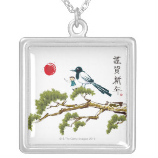 Boy and a Bird Silver Plated Necklace