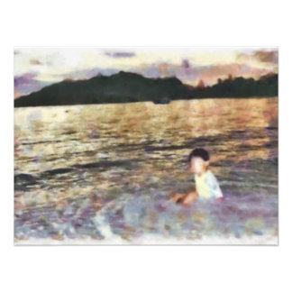 Boy and beach photo print