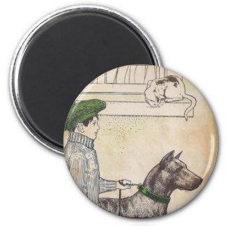 Boy and dog 6 cm round magnet